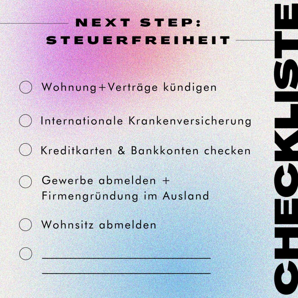 Checkliste zu Steuerfreiheit, digitales Nomadentum und Firmengründung im Ausland